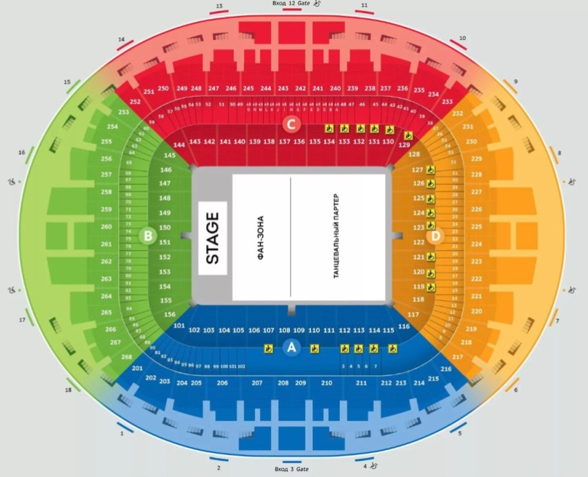 Схема посадочных мест на стадионе «Лужники»