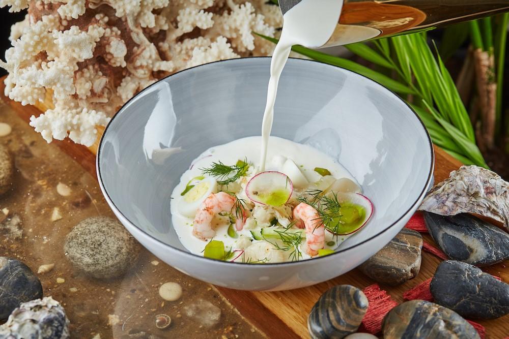 Белая окрошка с морским гребешком рецепт в домашних условиях