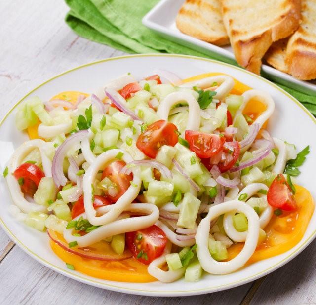 Рецепт салата с морепродуктами фото и рецепты