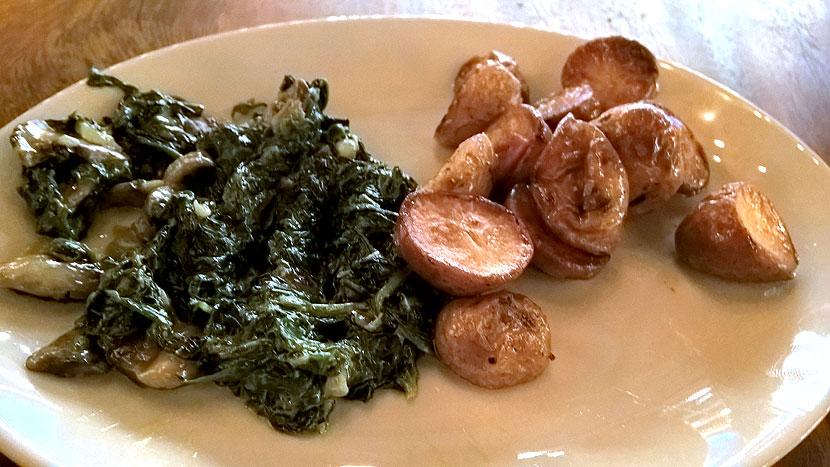 Гарнир: картофель и шпинат
