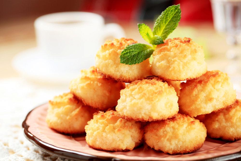 Кокосовое печенье - подача на стол