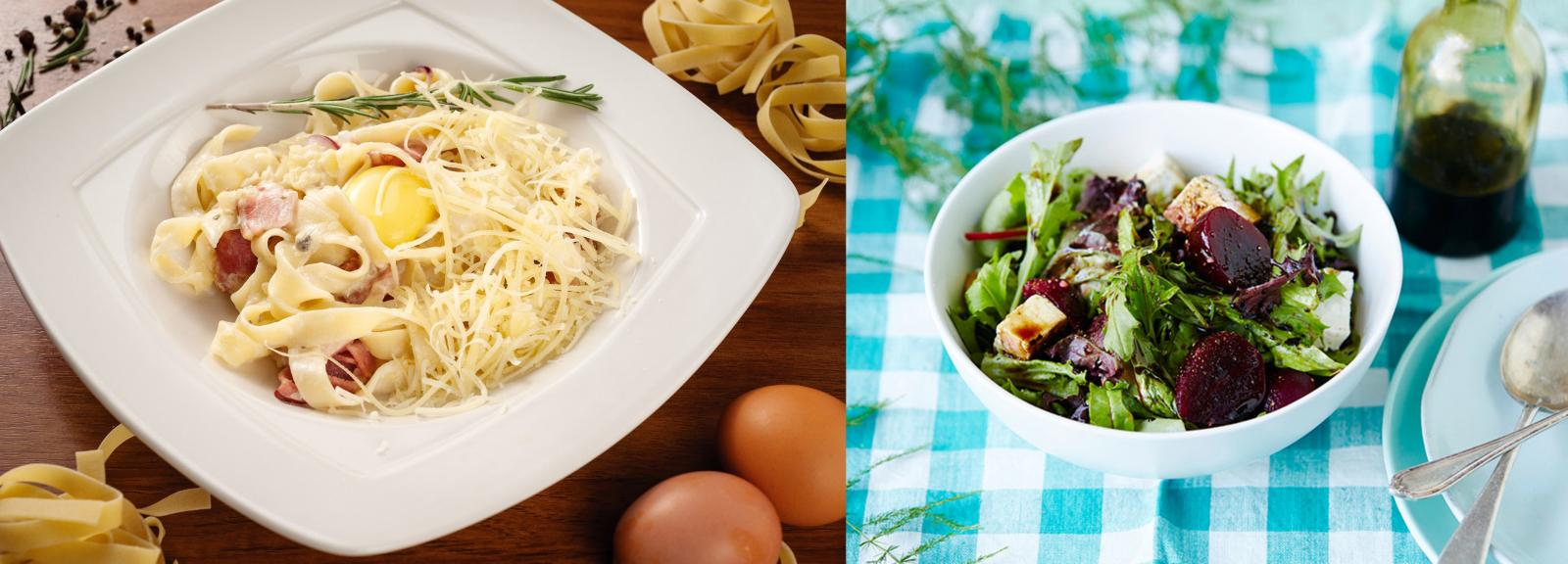 pasta carbonara and heap beetroot salad