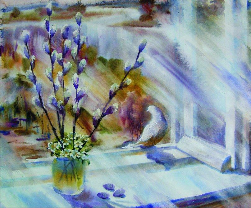 Нарисованная открытка на Вербное воскресенье